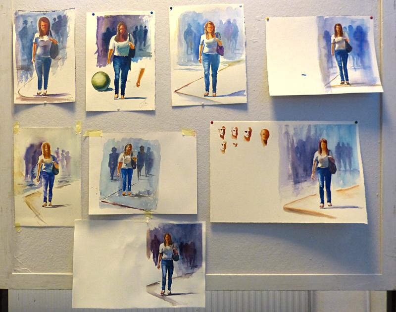 Figuren in aquarel