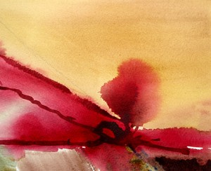 aquarel 'Rode loper, impressie van een duinlandschap atelier Van Vegchel