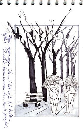 schetsboek regendag Portugal, atelier van vegchel