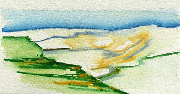 Test aquarelmarkers, afbeelding landschap