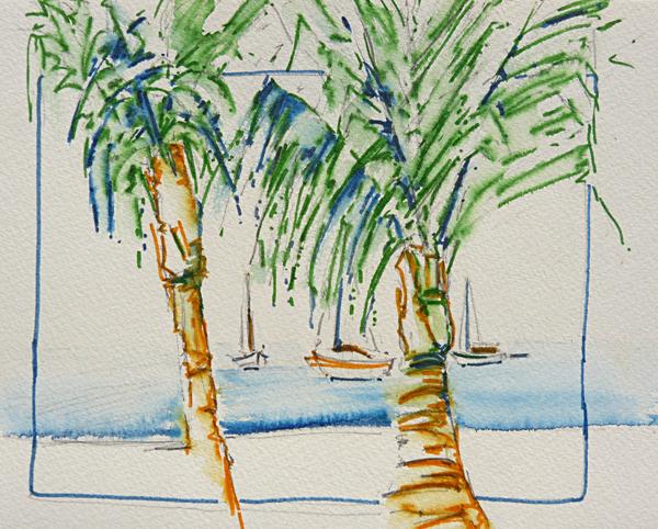 Test aquarelmarkers, afbeelding palm met boot
