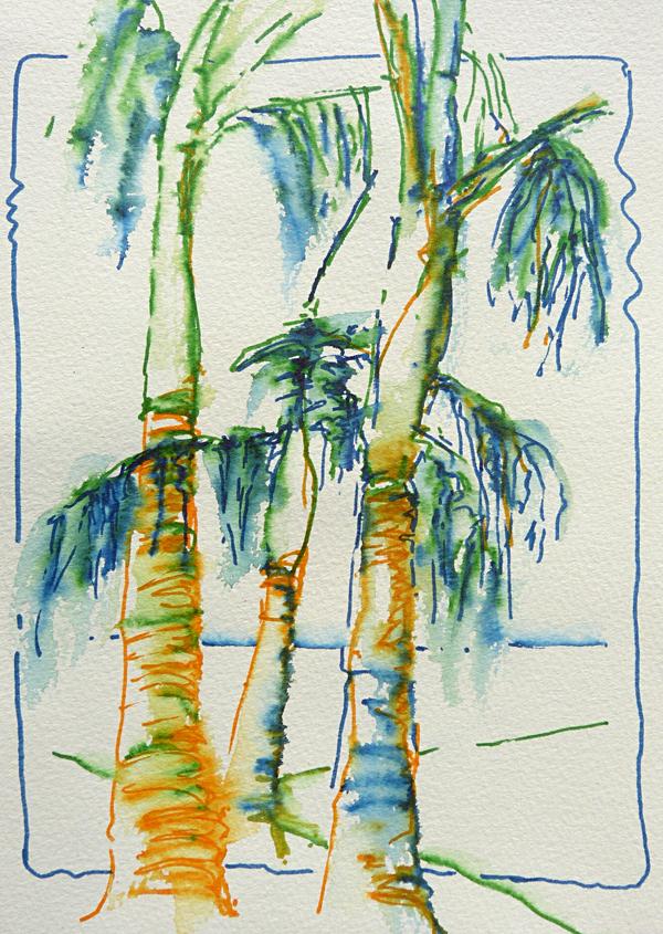 Test aquarelmarkers, afbeelding palmbomen