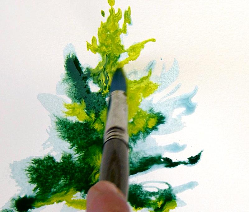 In 3 stappen een aquarel kerstkaart