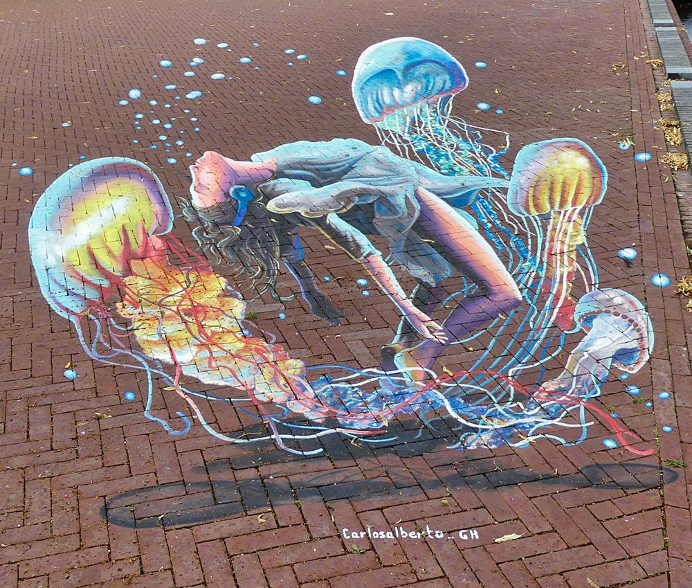 straattekening van World Street Painting 2019 kunstenaar Carlos Alberto
