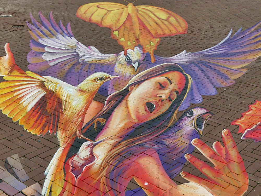 straattekening van World Street Painting 2019 kunstenaar Adry del Rocio